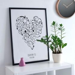 Илюстрация в рамка със сърце от стрелки за всички, които се лутат в търсене на любовта