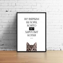 Не вярвам на хора, които не харесват котки, постер в рамка