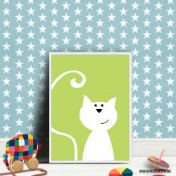 Котенце за детска стая - илюстрация в рамка