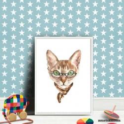 Декорация за детска стая: Котка с шал