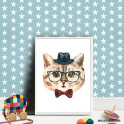 Стилна котка с бомбе като декорация за детска стая
