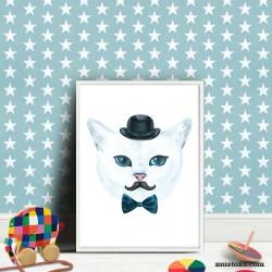 Декорация за стена: Котка с мустак - илюстрация за деца