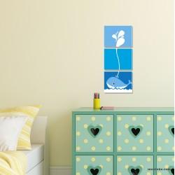 Декоративно пано за стена от три части с КИТ за детска стая
